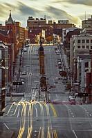 Cars light-trails, King street, Sherbrooke, Quebec, Canada.