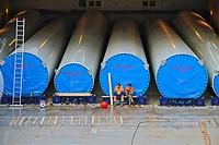 Loading eolic towers at Aviles harbor, Asturias, Spain, Europe.