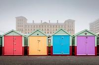 Colourful Beach Huts, Brighton, Sussex, UK.