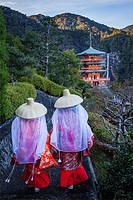 Pilgrims in Heian period costumes and Nachisan Seiganto-ji Temple (Three-Storied Pagoda), near Kumano Nachi Taisha Grand Shire, Kumano Kodo, Nakahechi...
