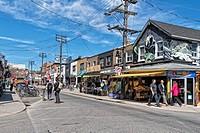 Street scene in the Kensington Market area of Toronto, Ontario, Canada.