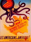 "France.  Poster of the PCF ( Parti Communiste Français) agains the """"Marshall Plan"""" . (Americans in America. . . )."