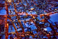 Aerial view of Reykjavik at Christmas time, Iceland.