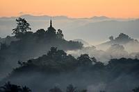 Myanmar, Rakhine State, Mrauk U, Sunrise.