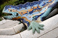 "Spain, Catalonia, Barcelona, World Heritage Site, Park Guell, Mosaic of """"El Drac"""", the dragon."