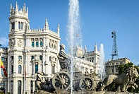 View of Cibeles sculpture in Cibeles square, Madrid city, Spain