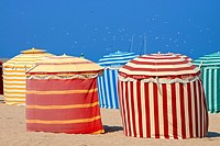Typical color striped beach cabins, beach and sea, Trouville sur Mer, 14, Normandy, France.