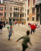 Children playing dodgeball at school, Venice, Veneto province, Italy, Europe