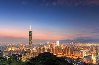 Taipei by night, in Taiwan.