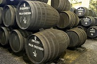 Sherry making in the Criadera e Solera method barrels three high in the bodega of Tradition, Jerez,bSpain.