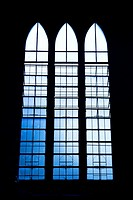 Window of the Immaculate Conception Cathedral in Puerto Princesa, Palawan, Philippines.