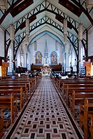 Inside the Immaculate Conception Cathedral in Puerto Princesa, Palawan, Philippines.