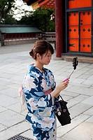 Japanese girl making a selfy