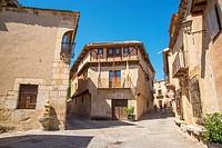 Street and town hall. Pedraza, Segovia province, Castilla Leon, Spain.