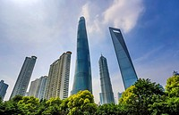 China, Shanghai City, Pudong District,Lujiazui , World Financial Center , Jinmao Bldg. and Shanghai Tower.