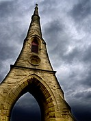 Remaining Spire of Demolished Chapels at Amble East Cemetary Amble by the Sea Northumberland England.