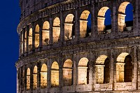 Roman Coliseum detail at night, Rome, Italy.