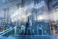 Scala theater in an artistic way in Milan, Italy.
