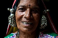 Woman belonging to the Lambani caste in Telangana state, India. She sees from only one eye.