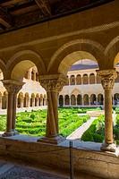 Romanesque cloister. Santo Domingo de Silos monastery, Burgos province, Castilla Leon, Spain.