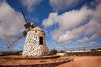 Windmill near Tefia, La Oliva, Fuerteventura, Canary Islands, Spain, Europe.