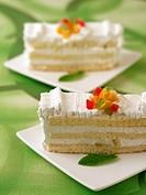 Layered sponge cake.