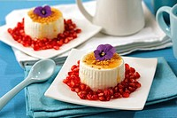 Soft cheese with pomegranate and honey.