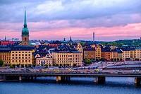 Panoramic of Gamla Stan island, Stockholm, Sweden.