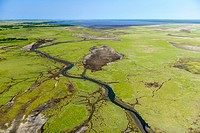 Aerial view of the northern reaches of Lake St Lucia showingi wetlands. Simangaliso Wetland Park (Greater St Lucia Wetland Park). KwaZulu Natal. South...