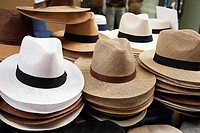 Panama hats for sale at the entrance of a shop, Palermo, Sicily, Italy, Europe.
