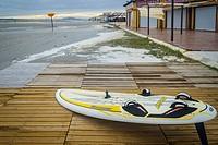 Surfboard view in Playa Lisa beach, Santa Pola, Alicante province, Spain