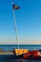 A black flag view in Tamarit beach, Alicante, Spain