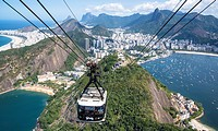 Aerial view of Rio with Corcovado mountain, Botofago bay and cable car from Sugar Loaf, Rio de Janeiro, Brazil.