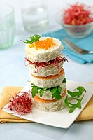 Salmon and cheese tower.