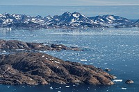 Late summer sea ice at mouth of Ammassalik Fjord, Tasiilaq, Greenland.