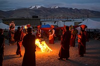 Buddhist monks performing a ritual. Nomad summer festival in Tso Moriri lake, Ladakh (India).