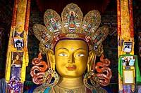 Giant Buddha at Thicksay gompa, Ladakh, India.
