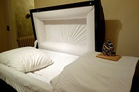 Open Coffin in Funeral Home, Geneseo, New York, United States.