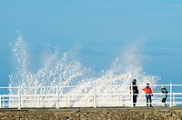 Aberystwyth Wales UK, Tuesday 29 December 2015. . At high tide this morning the sea swell in advance of Storm Frank, the sixth named storm of the seas...