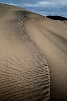 Shifting patterns and lines of sand at the Eureka Dunes at Death Valley National Park, California.
