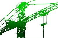 Crane,construction tower, illustration with vivid colors.