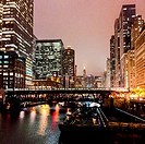 Chicago River on a foggy night.