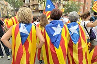 Political demonstration for the independence of Catalonia, Diada, September 11, 2015, Barcelona, Catalonia, Spain