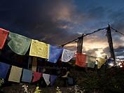Nepal. Himalayas. Annapurna Circuit. Thorong La Pass (5,416 m) . Flags prayer.
