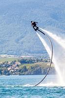 Flyboard in the Leman lake, Haute-Savoie, France.