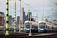 Seattle, Washington: Cars lined up at Sound Transit´s Link Light Rail Operations & Maintenance Facility. Inspired by horsetail plants, the overhead co...