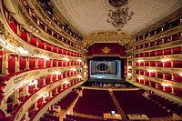 Inside illuminated Scala Theater in Milan, Italy