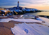 Peggy´s Cove Lighthouse in winter with snow, Nova Scotia, Canada