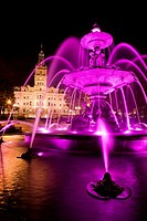 Fountain and Parliament Building, Hotel du Parlement, Quebec City, Quebec, Canada, night.