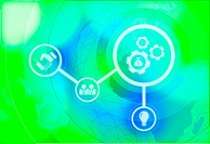 Illustrative image of business mechanics, politics and business merging